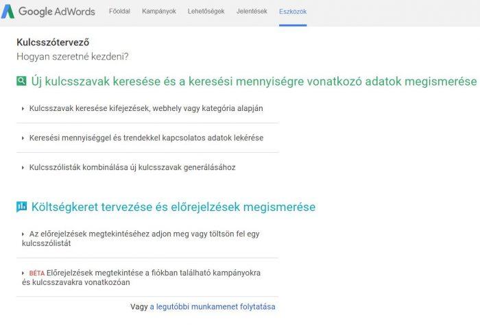 Google Adwords kulcsszótervező