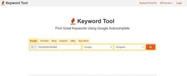 Keyword Tool kulcsszótervező