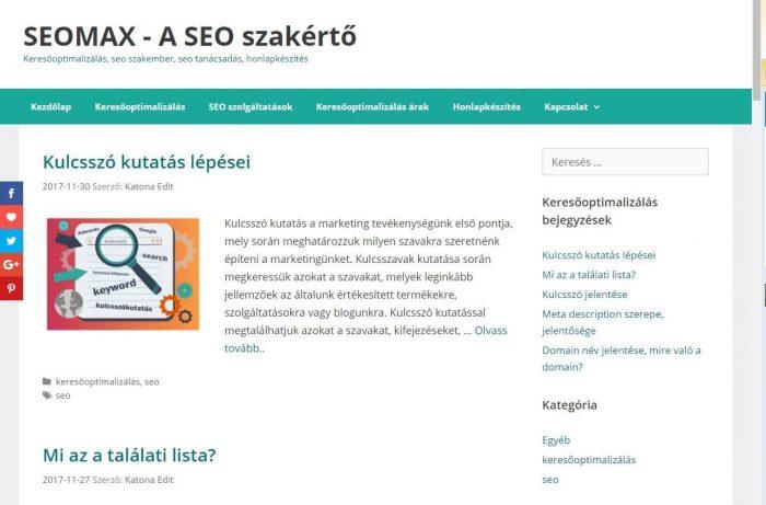 seomax.hu oldal - Google találati lista
