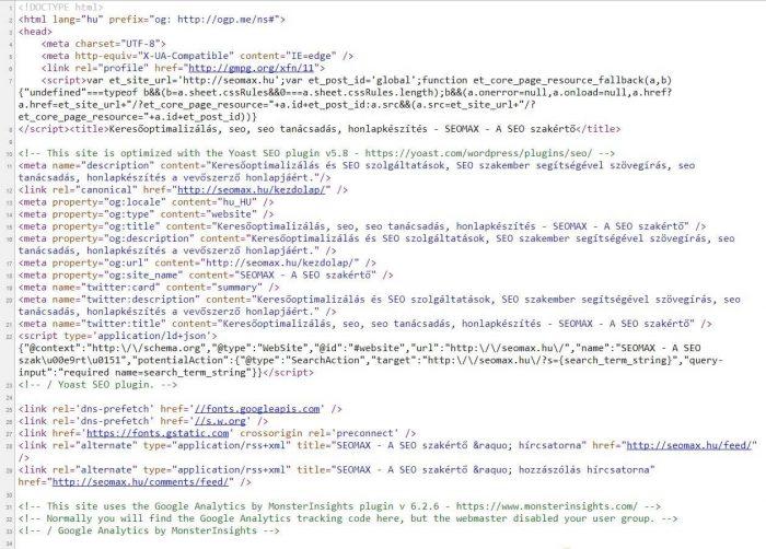 seomax.hu oldal kód- Google találati lista