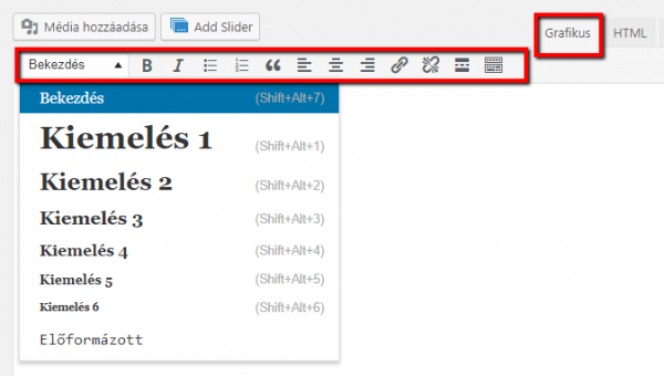 Szövegformázás kiemelés, html elemek, WordPress
