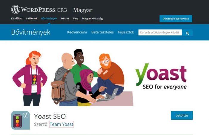 Yoast seo bővítmény - WordPress honlapról